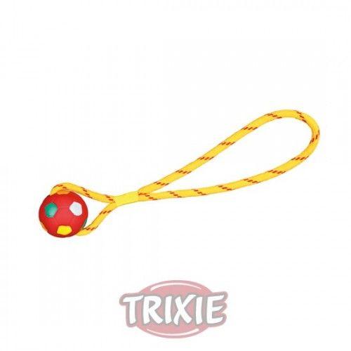 Trixie Fútbol con cuerda, caucho natural, ø6 cm/38 cm