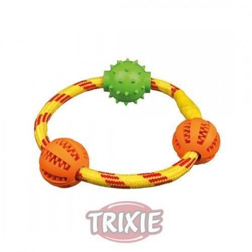 Trixie Denta fun anillo de cuerda con pelotas, ø20cm