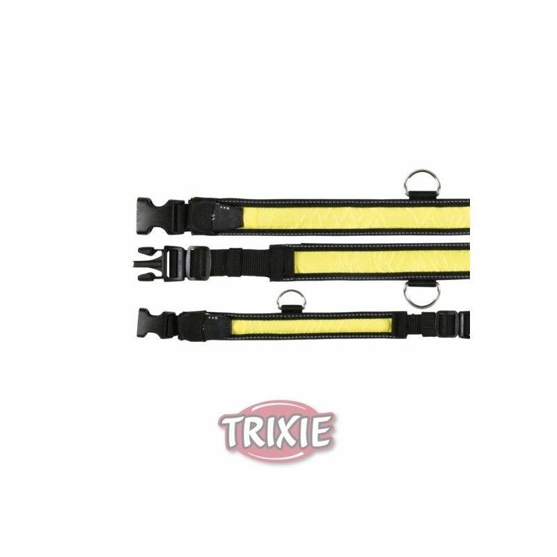 Trixie Collar Flash, L-XL, 55-70cm/35mm, Negro/Amarillo