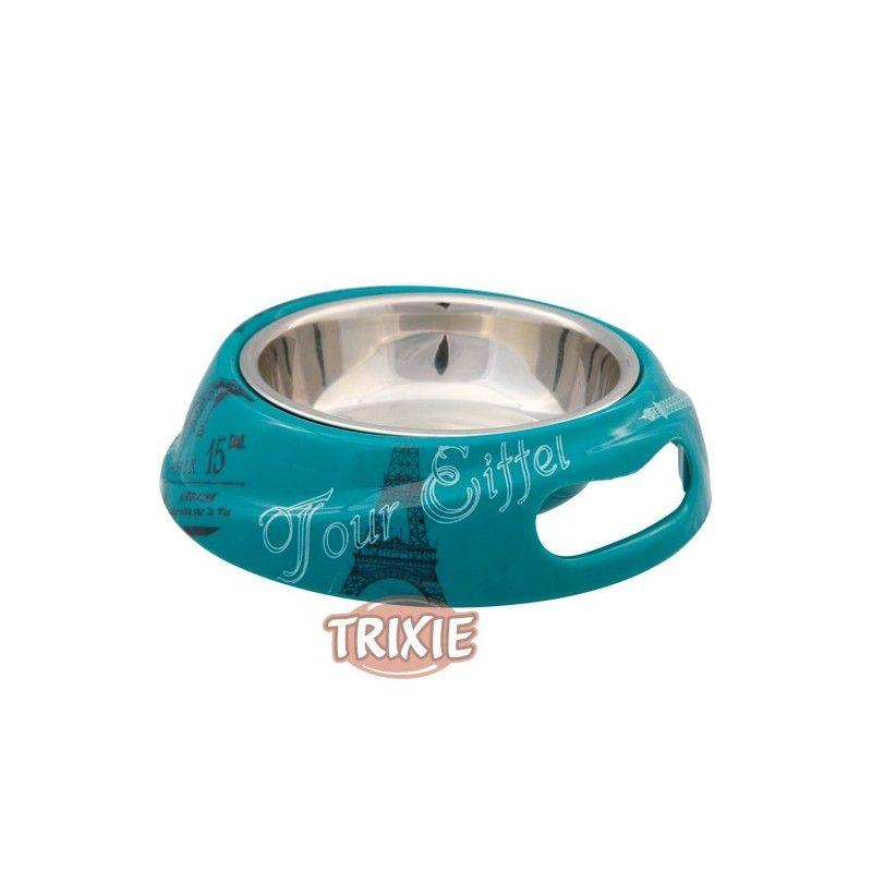 Trixie Comedero Paris, Melam-Ac.Inox, 0.6l,ø20cm,Petról