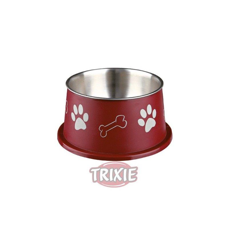 Trixie Comedero Spaniel, Inox-plast,0.9 l,ø15 cm, Variado