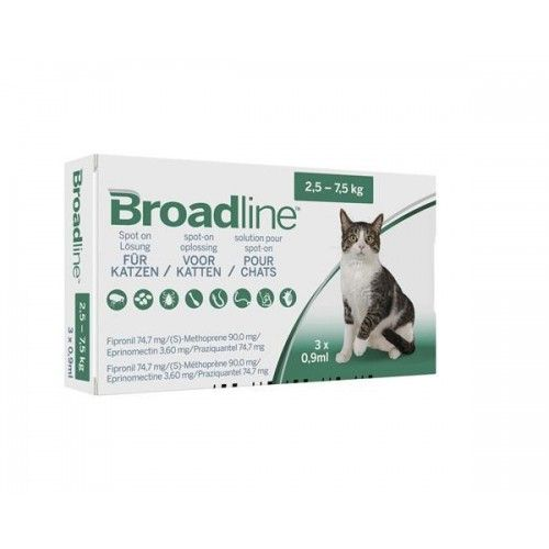 Broadline Gatos 2,5-7,5 kg 3 pipetas