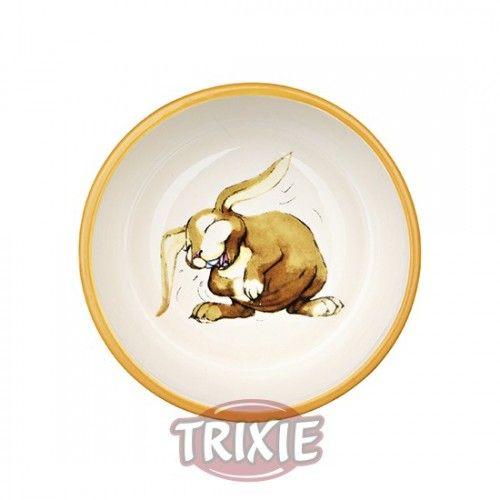 Trixie Comedero cerám. conejos,250ml/ø11cm, Colores-Crema