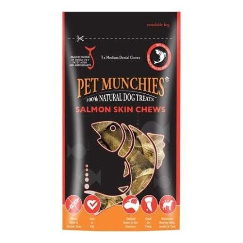 Pet Munchies Salmon Skin Chews Mediano