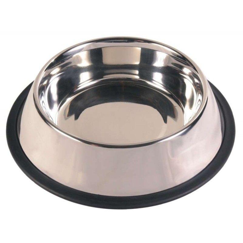Comedero acero inoxidable con anillo de caucho en la base, 0.7 l
