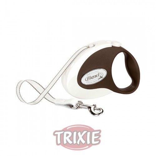 Trixie flexi COLLECTION, Cinta, S, 3m, Blanco-Marrón Osc.