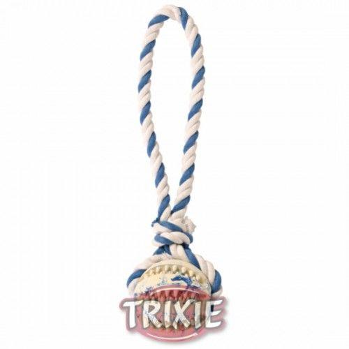 Trixie Denta Fun Pelota con Cuerda algodón, ø7 cm,24 cm