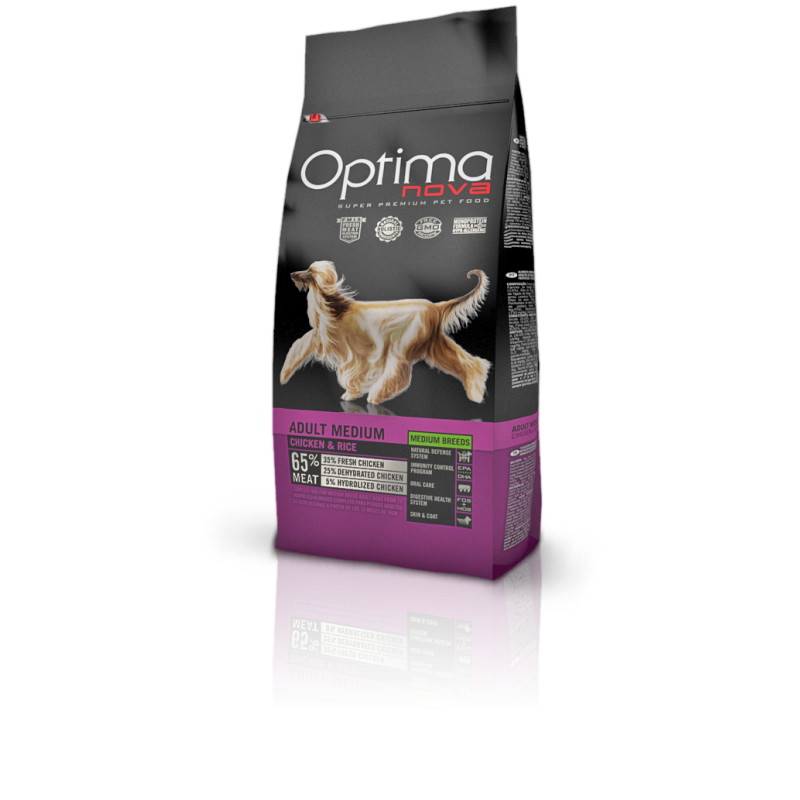 Optima nova adult medium chicken & rice 12 Kg
