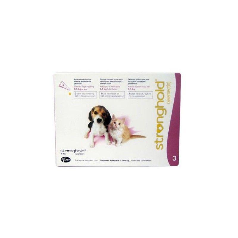 Stronghold cachorros y gatos (3 pipetas) 15 mg