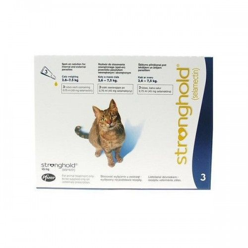 Stronghold gatos (3 pipetas) 2,6-7,5 kg