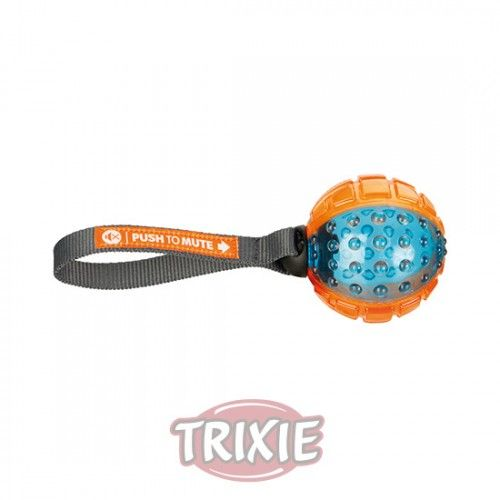 Trixie Pelota con Cuerda MUTE, ø 7 cm/22 cm, Naranja-Azul