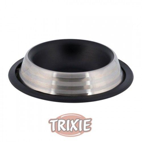Trixie Comedero Acero Inox, 0,2 l/ø 16 cm, Negro