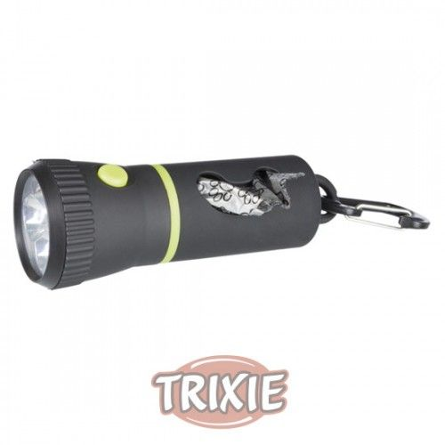 Trixie Linterna LED/ Dispensador de bolsas, 17cm, Negro