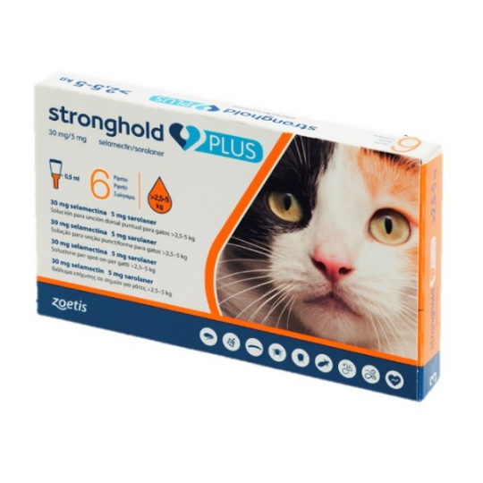Stronghold Plus Gatos 30/5 mg de 2,5-5 Kg (6 pipetas)