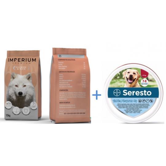 Imperium Premium con Salmón y Arroz 15 kg + Collar Seresto Perros 70 cm