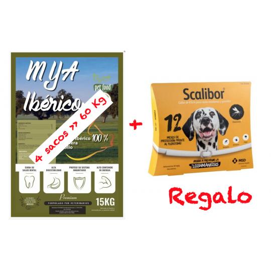MyA Premium Ibérico. 60 kg de Alimentación + Antiparasitario Regalo. Pack4 sacos + Collar scalibor de 65 cm Protección 12 meses