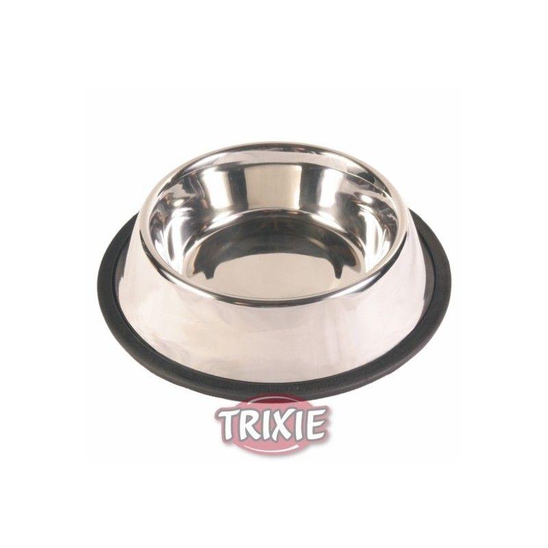 Trixie Comedero acero inox, anillo caucho, 0.9 l, ø17 cm