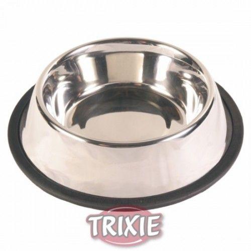 Comedero acero inox, anillo caucho, 2.8 l, ø24 cm