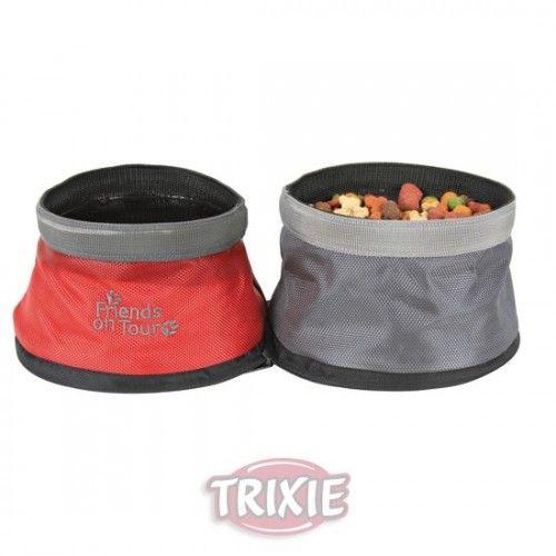 Trixie comedero/bebedero viaje, nylon, plegable, 1.1/1.4 l