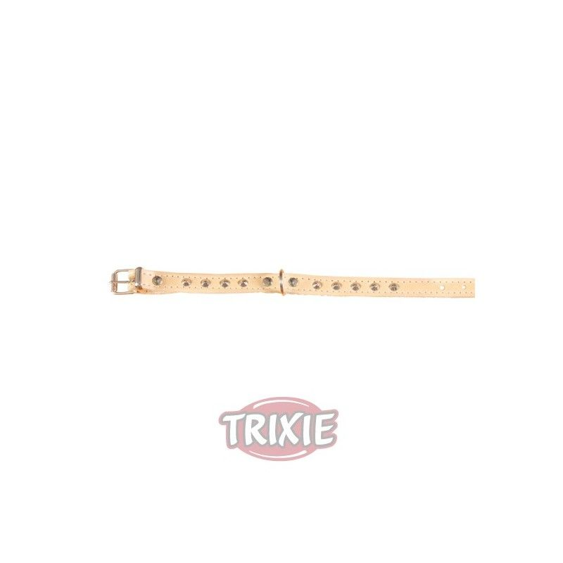 Trixie collar basic, piel s-m, 33-39cm,16mm natural