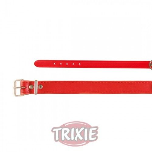 Trixie collar basic, piel m, 37-43cm,18mm rojo