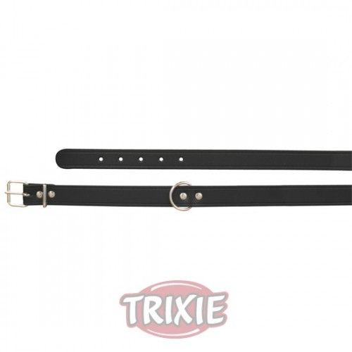 Trixie collar basic, piel m, 37-43cm,18mm negro